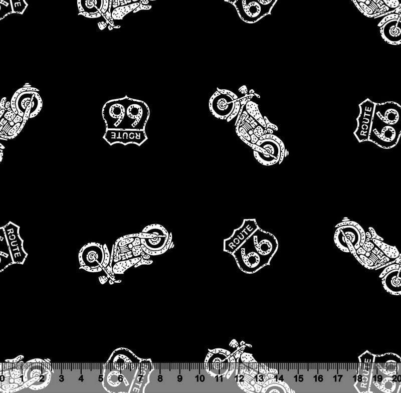 Tecido Tricoline Motocicletas - Fundo Preto - Preço de 45cm x 150cm