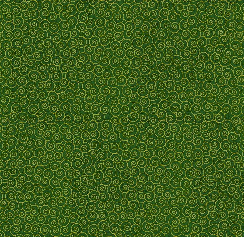 Tecido Tricoline Caracol Dourado - Fundo Verde - Coleção Natal - Preço de 50 cm x 150 cm
