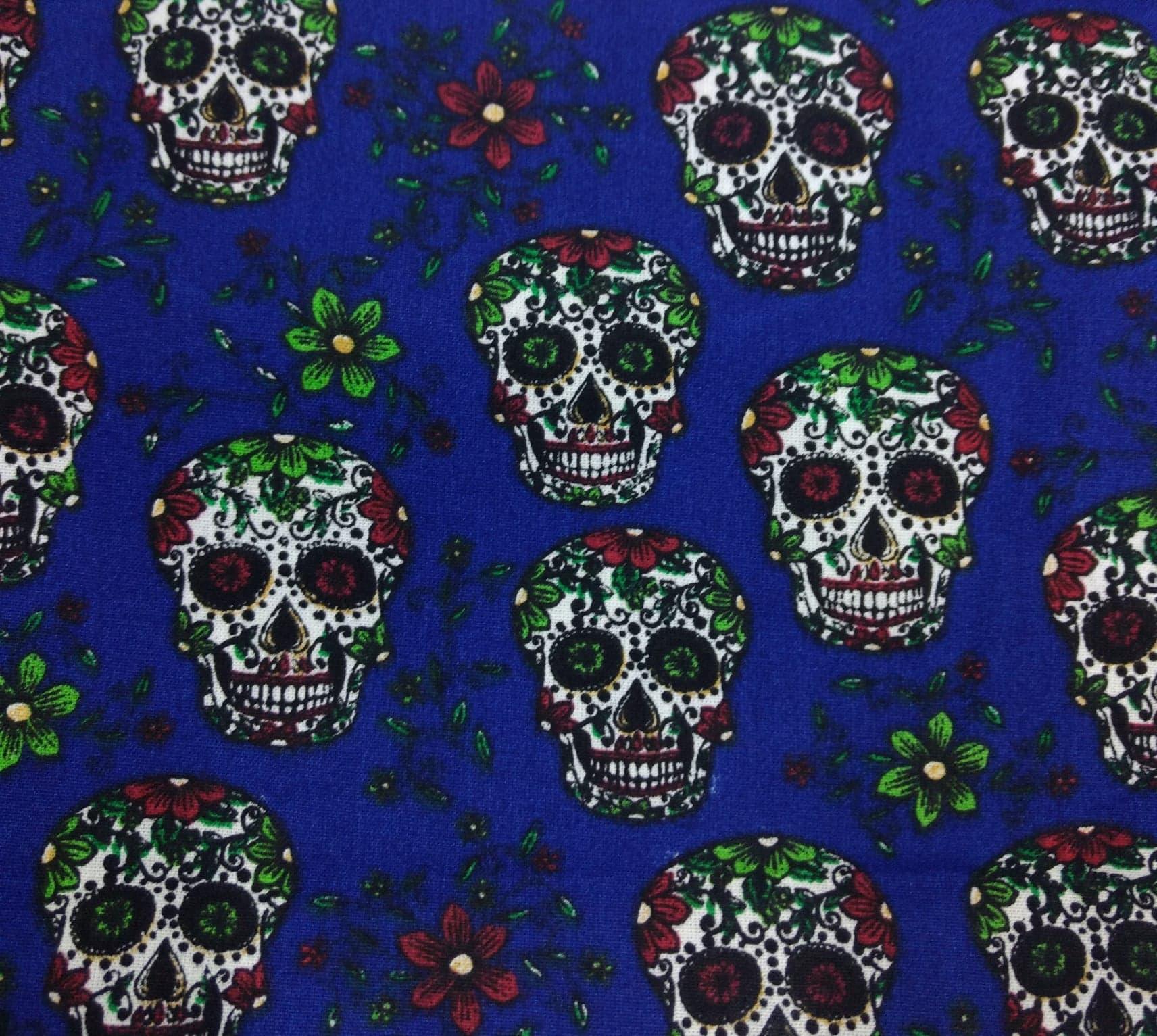 Tecido Tricoline Caveira Mexicana - Fundo Azul - Preço de 50 cm X 150 cm