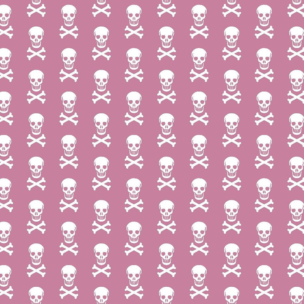 Tecido Tricoline Caveiras - Fundo Rosa - Preço de 50cm x 150cm