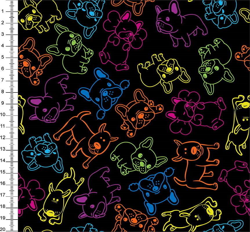 Tecido Tricoline Digital Cachorro Neon - Fundo Preto