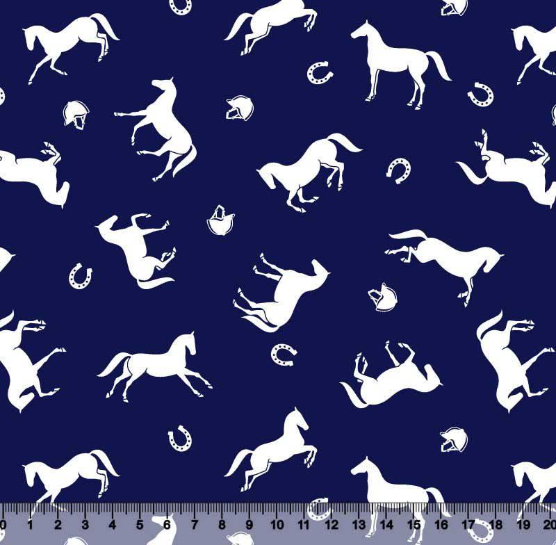 Tecido Tricoline Estampa Cavalos - Fundo Azul Marinho - Preço de 50 cm X 150 cm