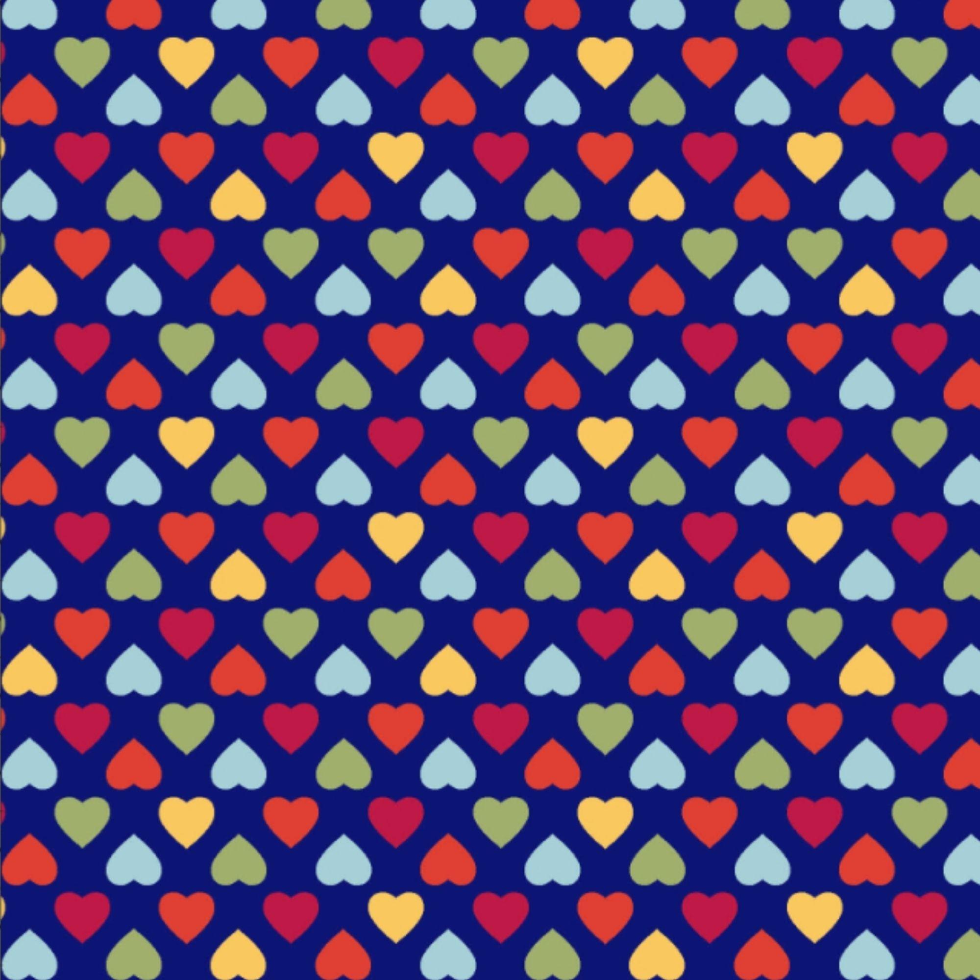 Tecido Tricoline  Estampa Corações Coloridos - Fundo Azul Marinho - Coleção Amor Amour Amore Love