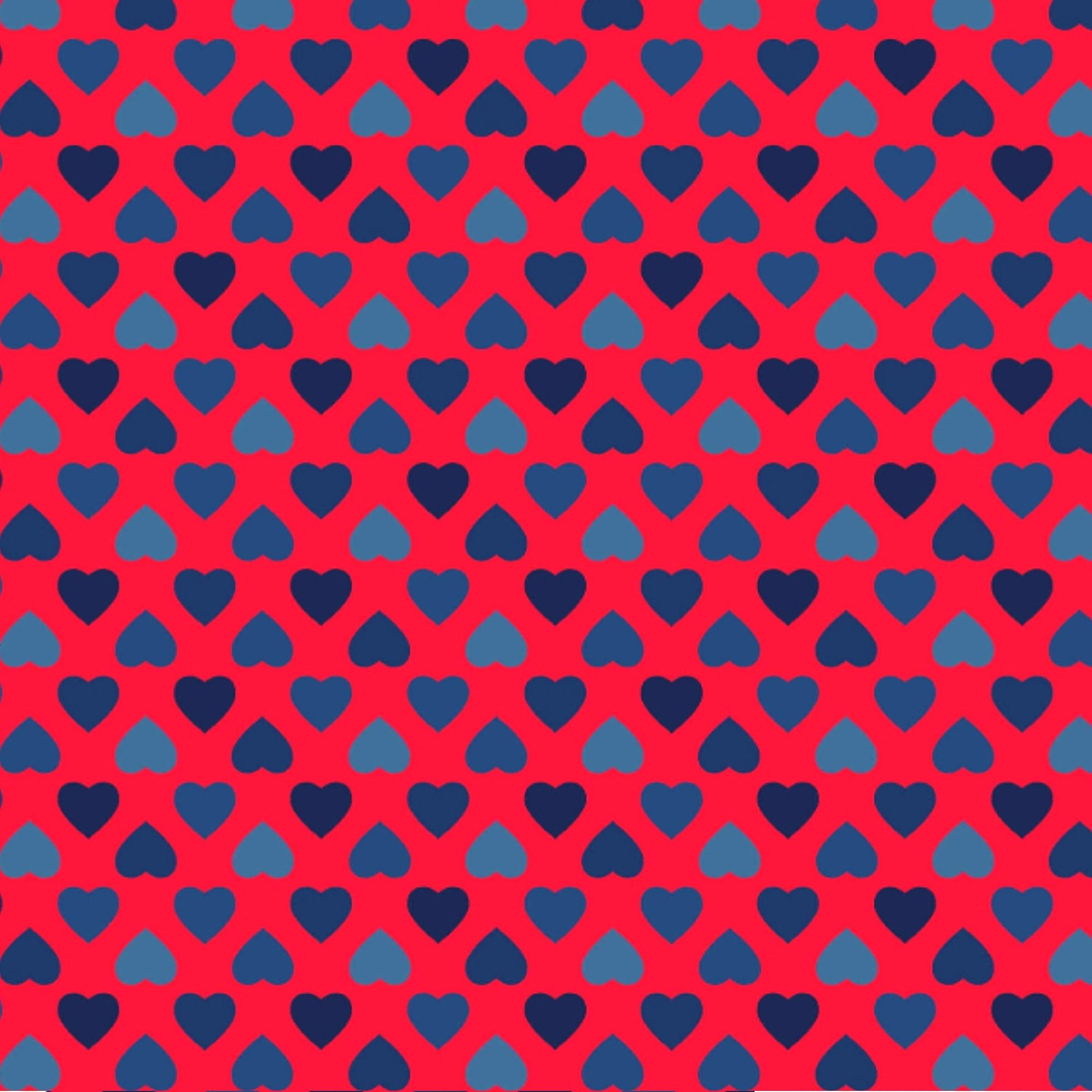 Tecido Tricoline  Estampa Corações Azuis - Fundo Vermelho - Coleção Amor Amour Amore Love