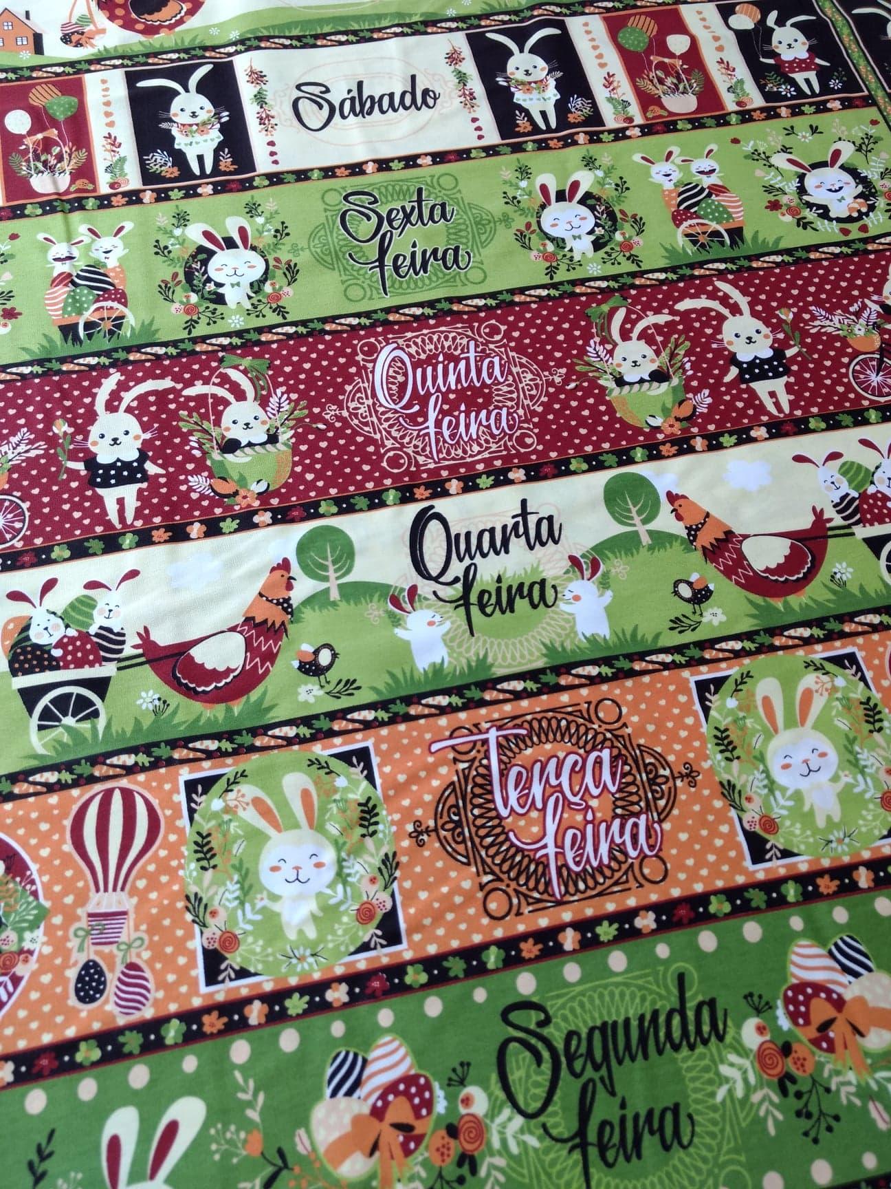 Tecido Tricoline Estampa de Barrados Semaninha Páscoa Vintage