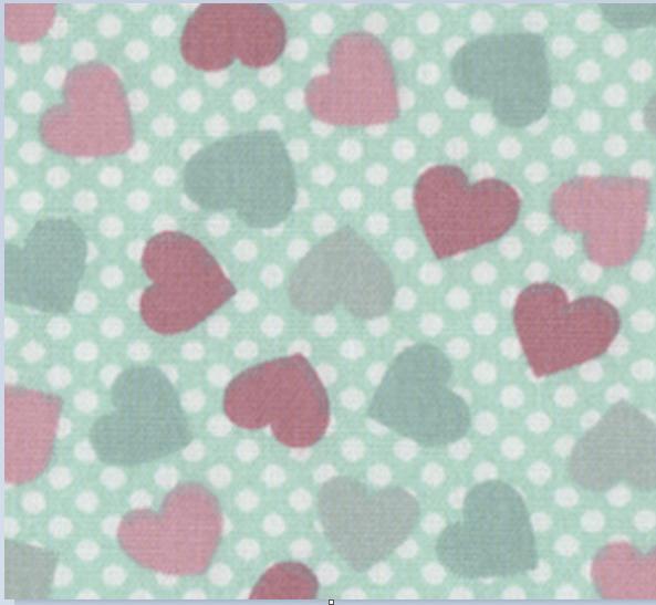 Tecido Tricoline Patch Love Mini Coração - Fundo Verde - Coleção Vanessa Guimarães - Preço de 50cm x 150cm