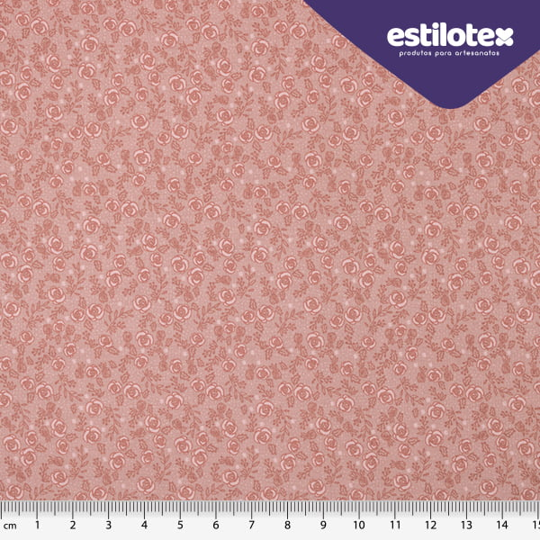 Tecido Tricoline Floral Chic Rosê - Preço de 50 cm x 150 cm