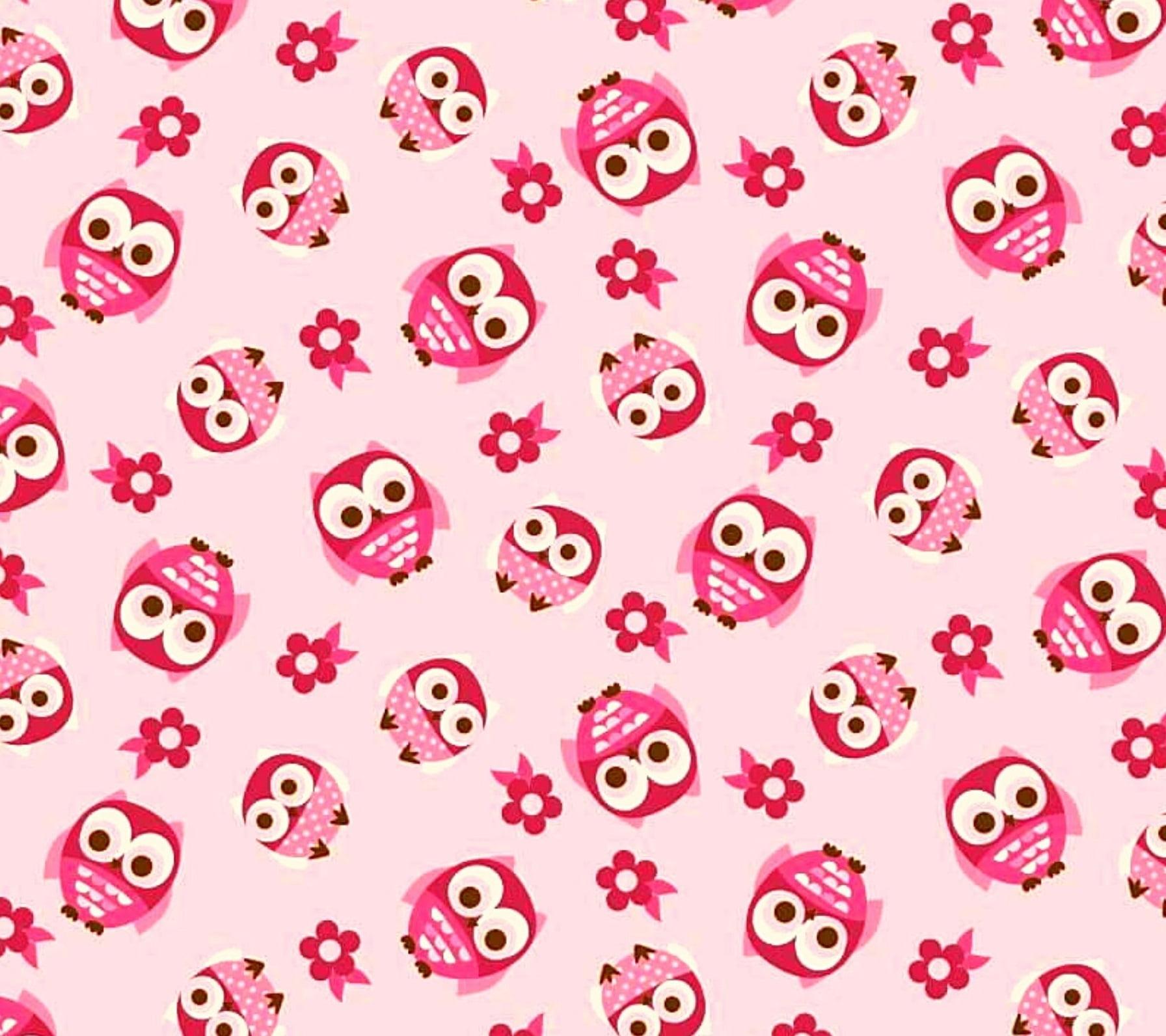 Tecido Tricoline Corujas Pequenas - Fundo Rosa - Preço de 50 cm 150 cm