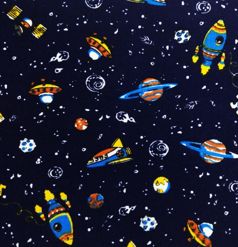 Tecido Tricoline Espaço, Foguete e Planetas - Fundo Azul Marinho - Preço de 50 cm X 150 cm