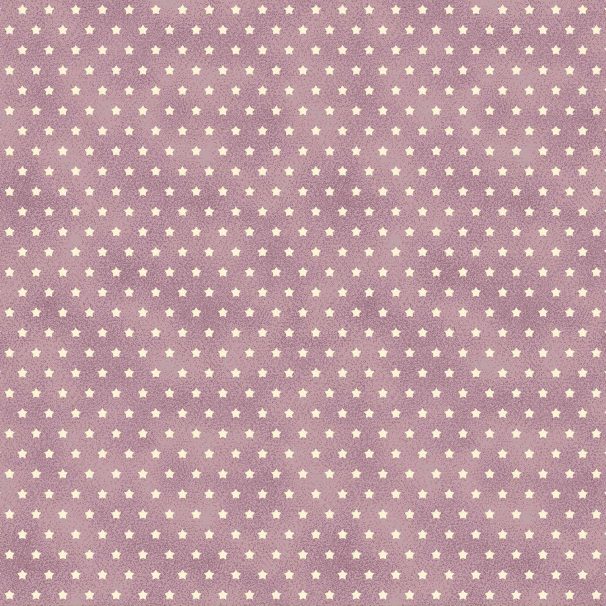 Tecido Tricoline Mini Estrelas - Fundo Poeira Lavanda - Preço de 50cm x 150cm