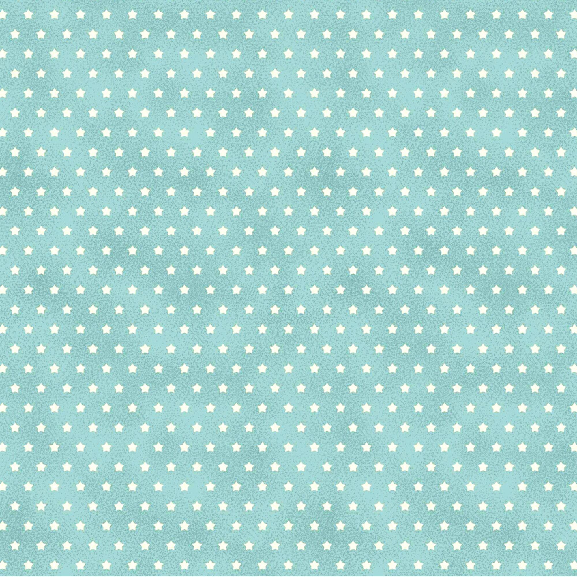 Tecido Tricoline Mini Estrelas - Fundo Poeira Tiffany - Preço de 50cm x 150cm
