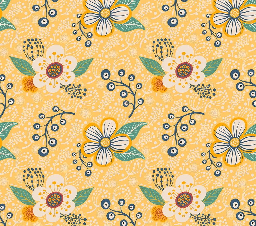 Tecido Tricoline Floral e Ramos Grandes - Fundo Amarelo - Coleção Contemporâneo - Preço de 50cm x 150cm