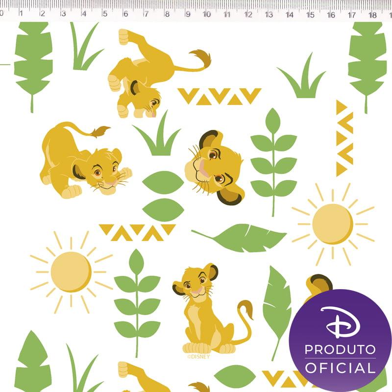 Tecido Tricoline Simba - Fundo Branco - Disney