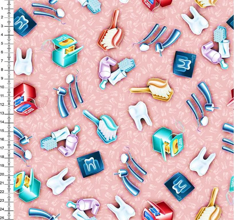 Tecido Digital Dentes e Odontologia - Fundo Rosa