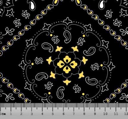 Tecido Tricoline Bandana - Fundo Preto - Preço de 50cm x 150cm