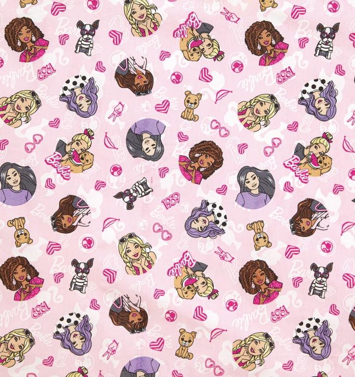 Tecido Tricoline Barbie com Dogs - Fundo Rosa