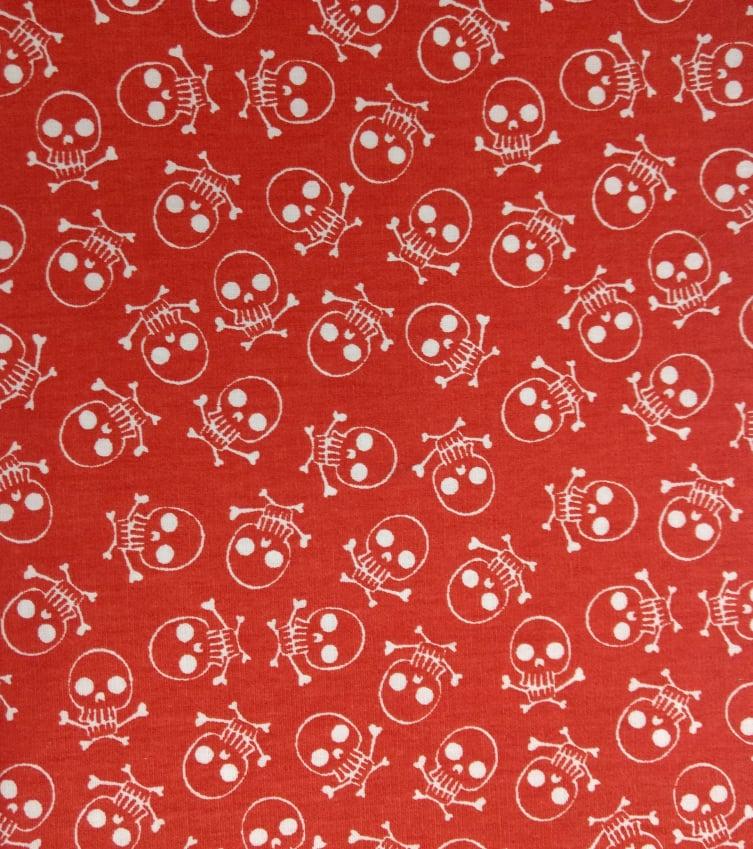 Tecido Tricoline Caveira - Fundo Vermelho Alaranjado - Preço de 50 cm X 150 cm