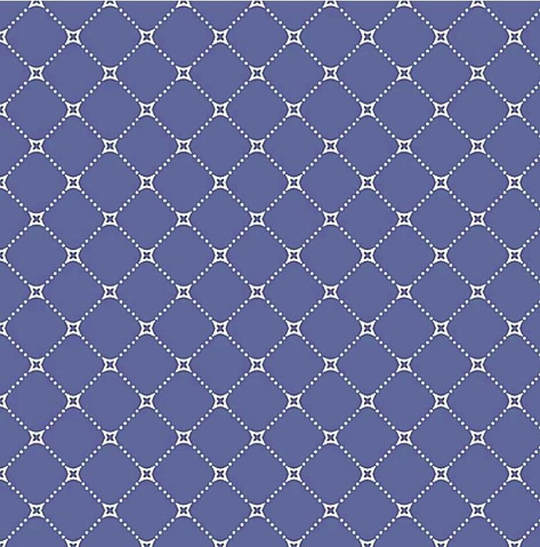 Tecido Tricoline Cerca de Flores - Fundo Azul - Preço de 50 cm x 150 cm