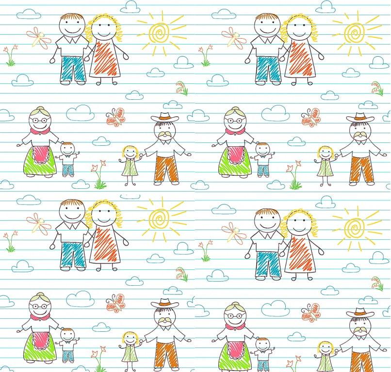 Tecido Tricoline com Estampa de Família Ao Sol - Fundo Branco com Listras Azul - Preço de 50 cm x 150 cm