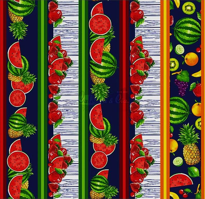 Tecido Tricoline de Barrado Salada de Frutas - Fundo Azul Marinho - Preço de 50 cm X 150 cm