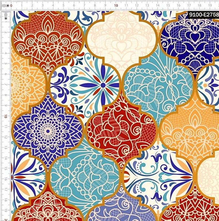 Tecido Tricoline Digital Arabesco Vintage