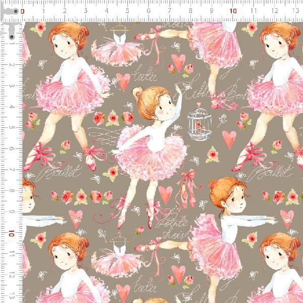 Tecido Tricoline Digital Bailarinas Vestido Rosa - Fundo Cáqui Escuro