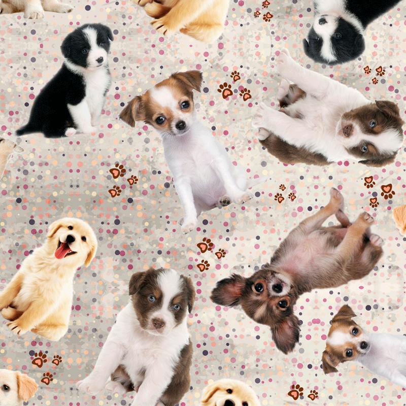 Tecido Tricoline Digital Cachorros Diversos - Fundo Creme - Preço de 50cm x 150cm