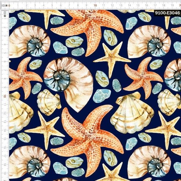 Tecido Tricoline Digital Conchas - Fundo Azul Marinho
