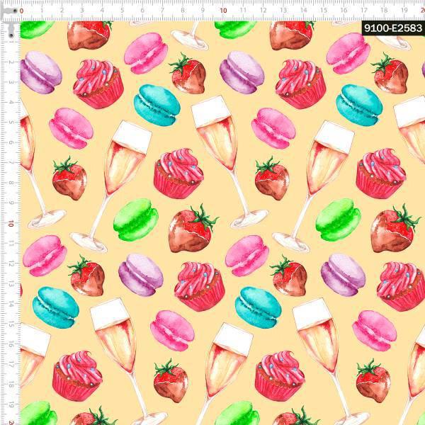 Tecido Tricoline Digital Cupcake Chique - Fundo Creme