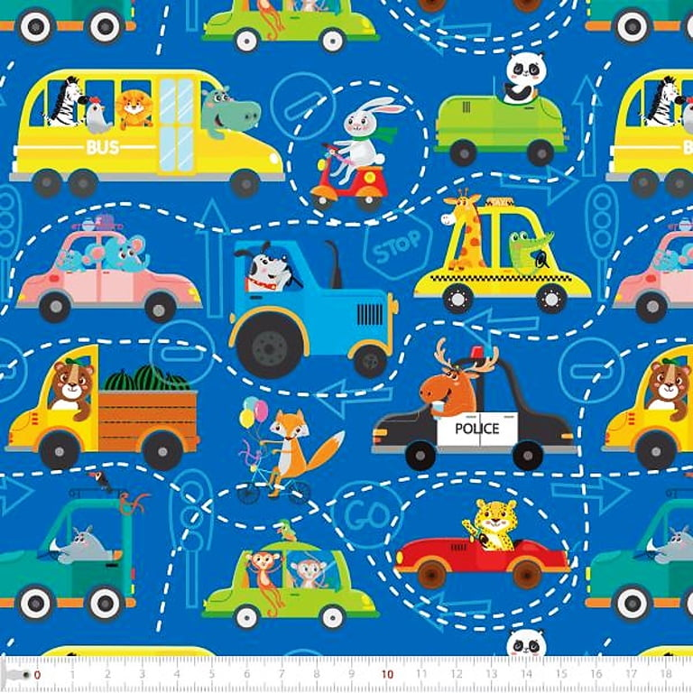 Tecido Tricoline Digital Estampa de Trânsito Animal - Fundo Azul