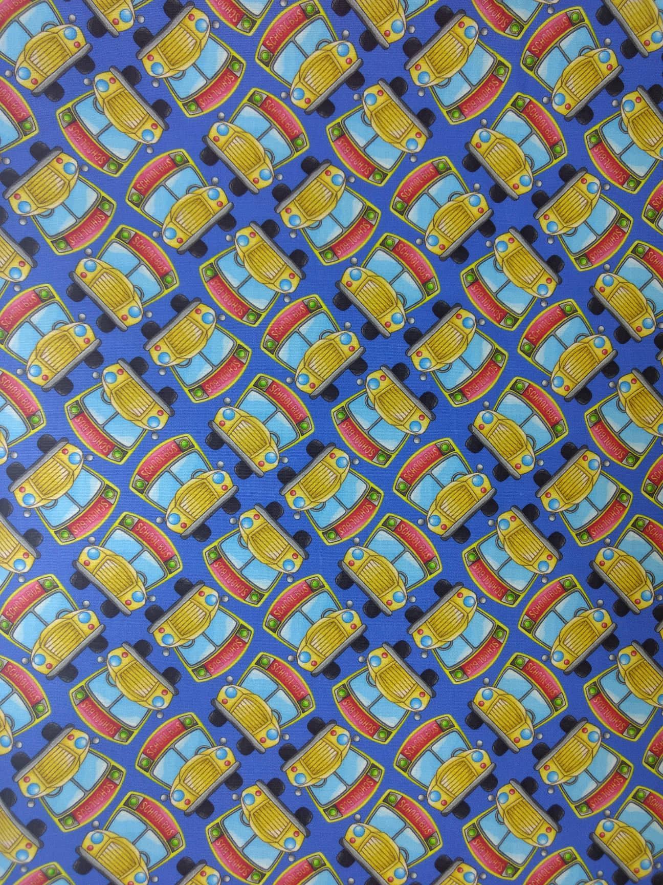 Tecido Tricoline Digital Estampado Ônibus Escolar- Fundo Azul - Preço de 50 cm x 150 cm