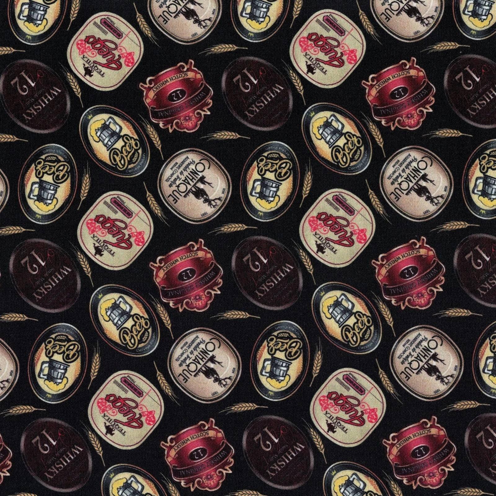 Tecido Tricoline Digital Estampado Rótulos de Bebidas - Fundo Preto - Preço de 50 cm x 150 cm