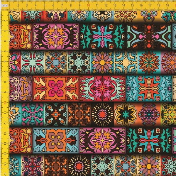 Tecido Tricoline Digital Étinico Colorido