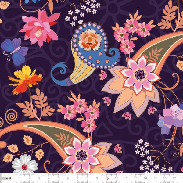 Tecido Tricoline Digital Floral Arabesco - Fundo Roxo - 40 cm