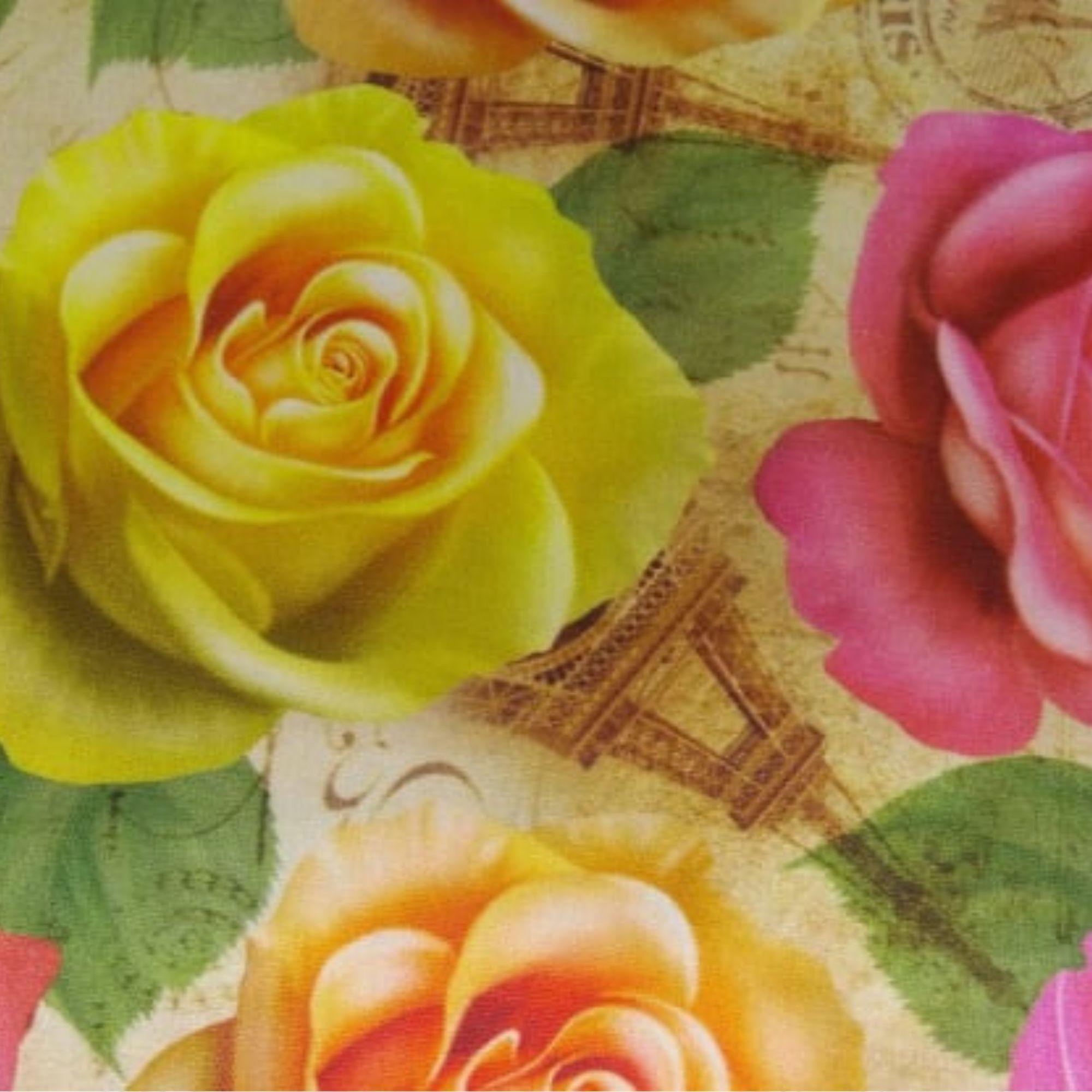 Tecido Tricoline Digital Floral Grande Paris - Fundo Bege