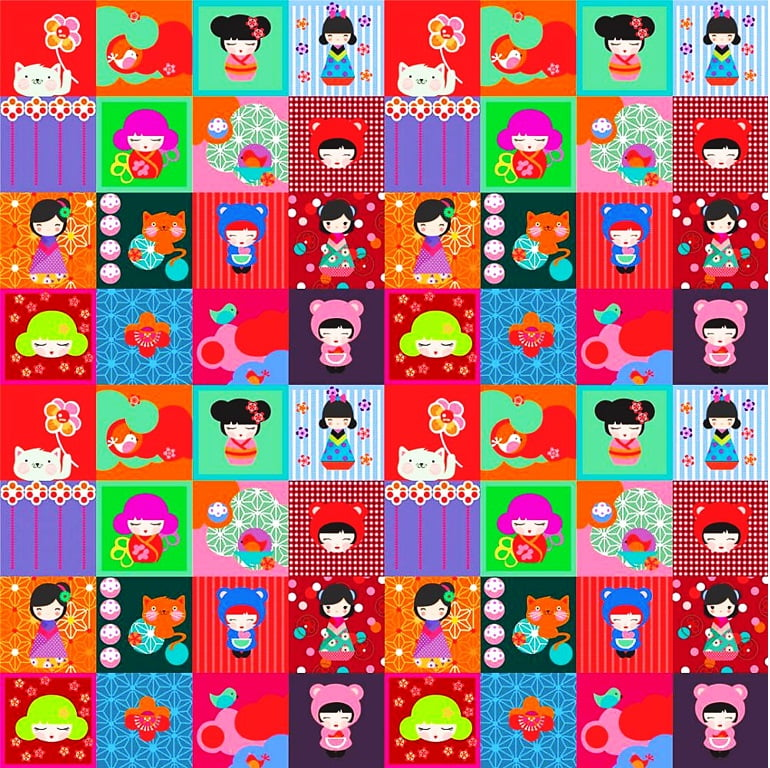 Tecido Tricoline Digital Japas - Fundo Colorido