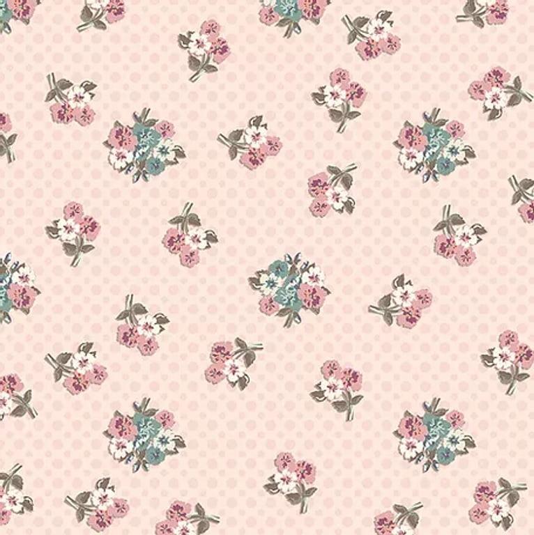 Tecido Tricoline Digital Macinhos Flores Retrô - Fundo Rosê