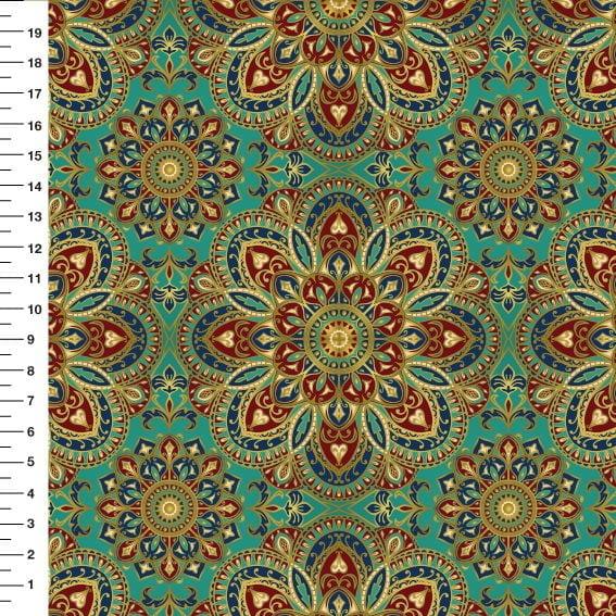 Tecido Tricoline Digital Mandala - Fundo Verde - Preço de 50cm x 150cm