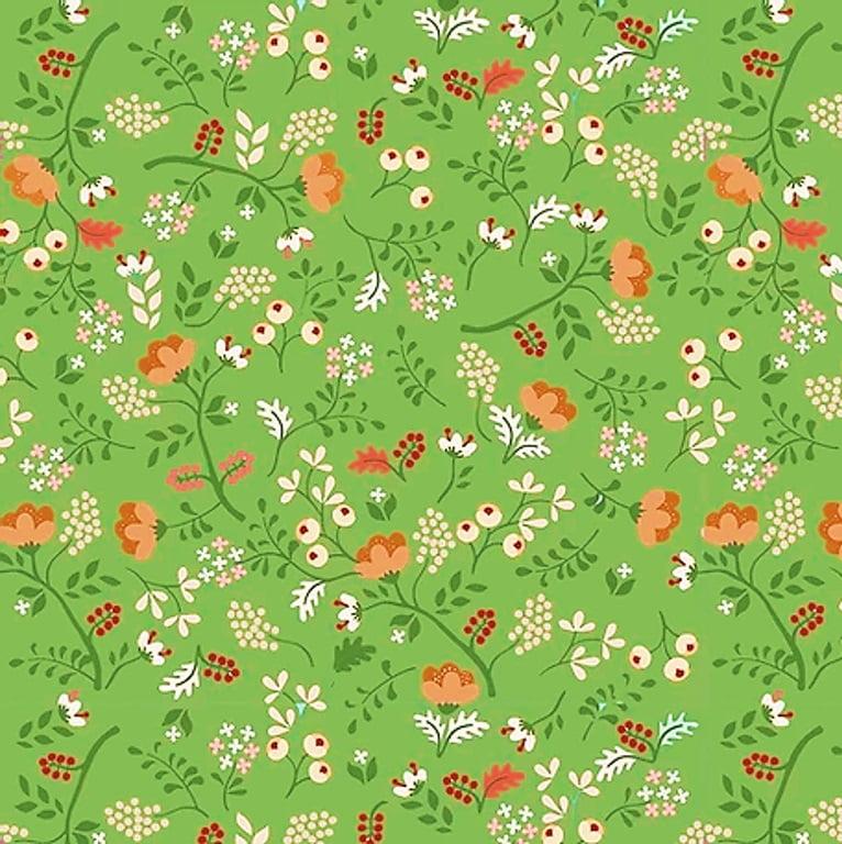 Tecido Tricoline Digital Mini Floral - Fundo Verde - Coleção Viva La Vida