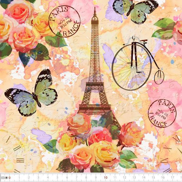 Tecido Tricoline Digital Paris Aquarelado