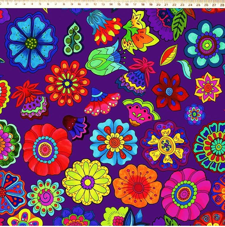 Tecido Tricoline Digital Sandias - Fundo Violeta - Coleção Flowers - Preço de 50cm x 150cm