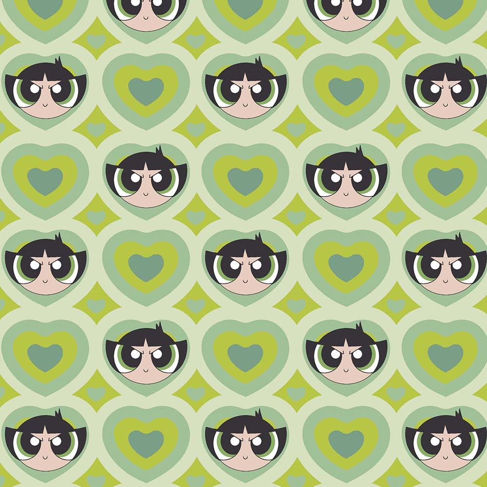 Tecido Tricoline Docinho Coração - Fundo Verde - Coleção Meninas Super Poderosas