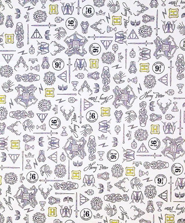 Tecido Tricoline Estampa de Harry Potter - Fundo Branco