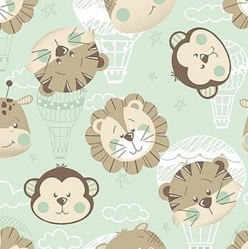 Tecido Tricoline Estampa de Rostos Bichihos Baby - Fundo Menta