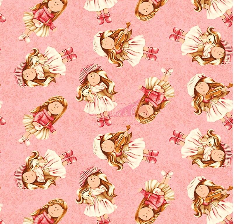 Tecido Tricoline Estampa Gigi - Fundo Rosa com Poeirinha - Preço de 50 cm x 150 cm