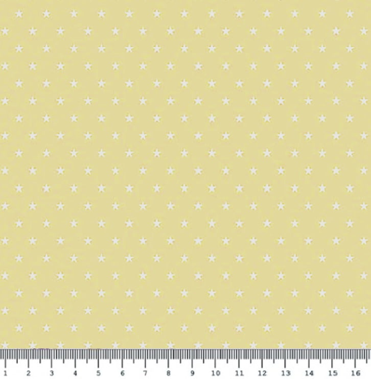 Tecido Tricoline  Estampa Mini Estrela Branca - Fundo Amarelo Claro