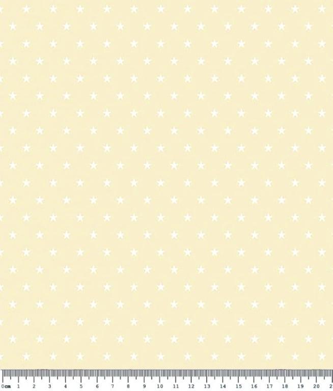 Tecido Tricoline Estampa Mini Estrela Branca - Fundo Bege Claro - Preço de 50 cm X 150 cm