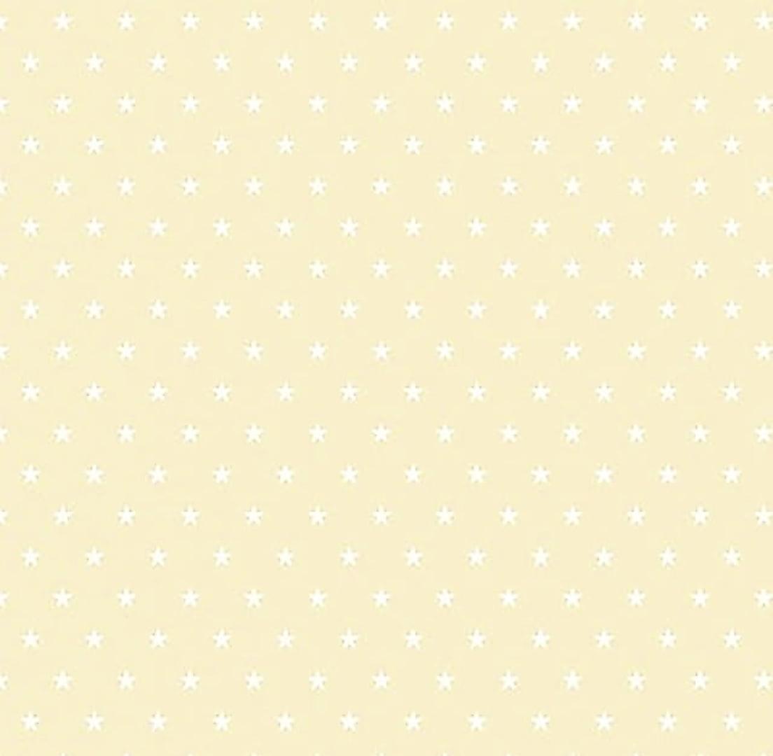 Tecido Tricoline Estampa Mini Estrela Branca - Fundo Bege Claro