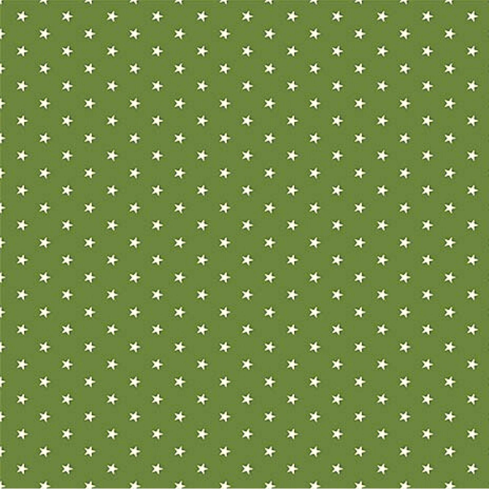 Tecido Tricoline  Estampa Mini Estrela Branca - Fundo Verde Arruda - Preço de 50 cm X 150 cm