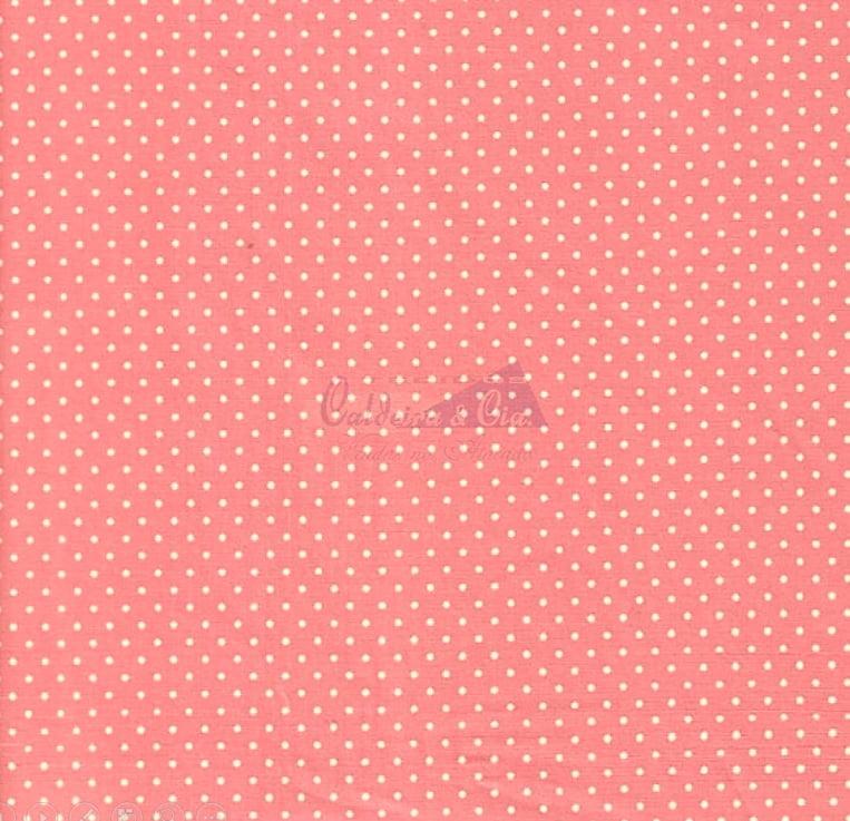 Tecido Tricoline Estampa Poá Branco - Fundo Rosa Goiaba - Preço de 50 cm x 150 cm